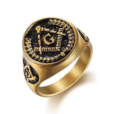 Titanium stainless steel Gold Color Masonic Ring