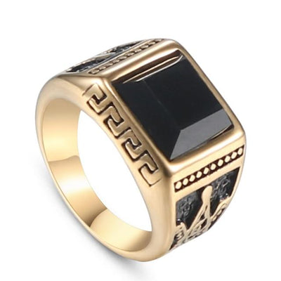 vintage titanium stainless steel freemason ring