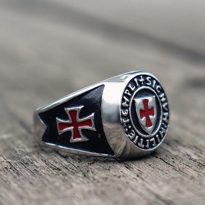 Stainless Steel Titanium Knights Templar Cross Masonic Ring