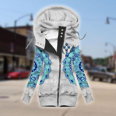 Kosrae fleece sleeve zipper hoodie outerwear 2