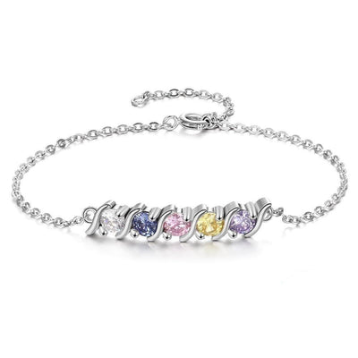 Personalized Bracelet with 5 Birthstone Cubic Zirconia