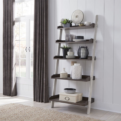 Liberty Furniture Farmhouse Leaning Bookcase in White/Oak 139WH-BK202 image