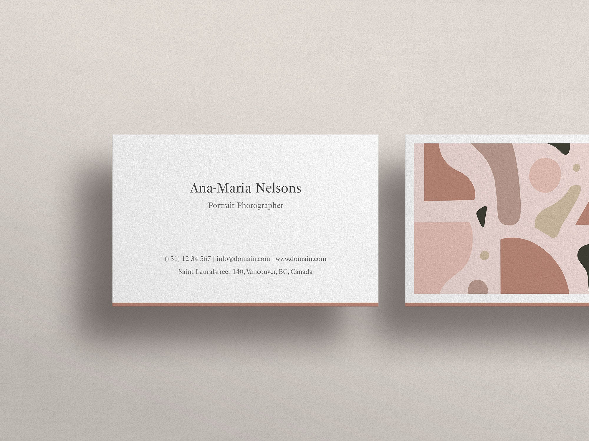 An example of a business card with a distinctive brand identity (product used as showcase: Business Card Mockup Kit).