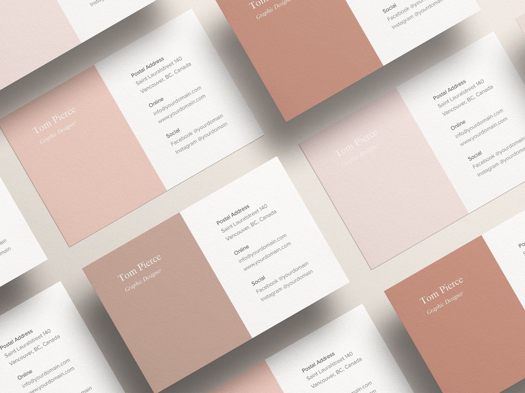 An example where the colors of a brand identity have been implemented in the design of the business cards (product used as showcase: Business Card Mockup Kit).