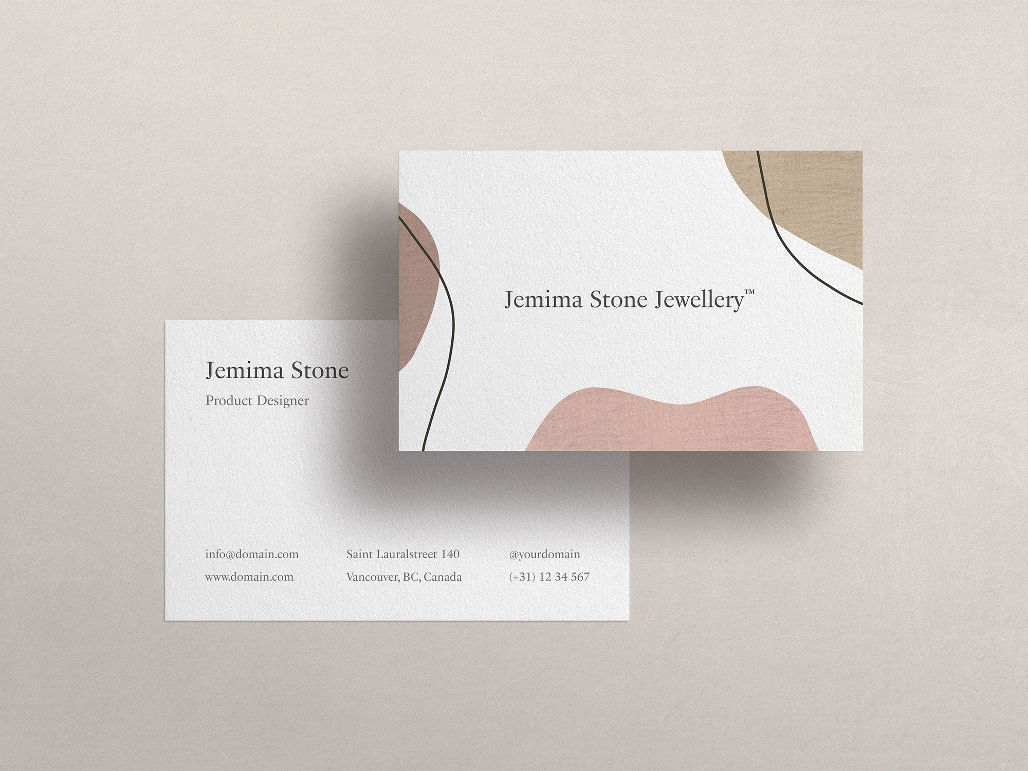 An example of a business card that has all the key information on it (product used as showcase: Business Card Mockup Kit).