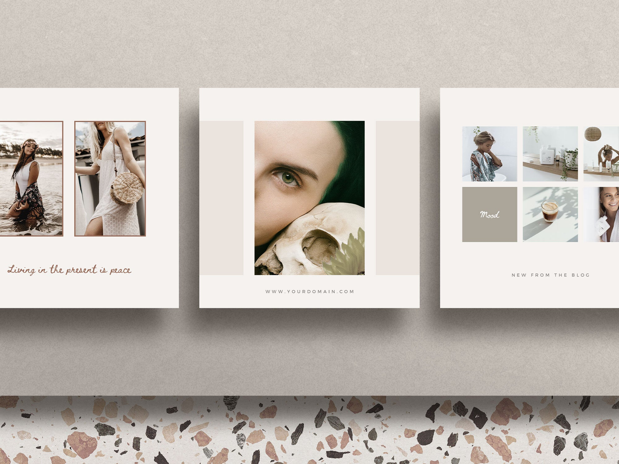 Three regular, square sized Instagram templates from the Los Angeles Social Media Pack