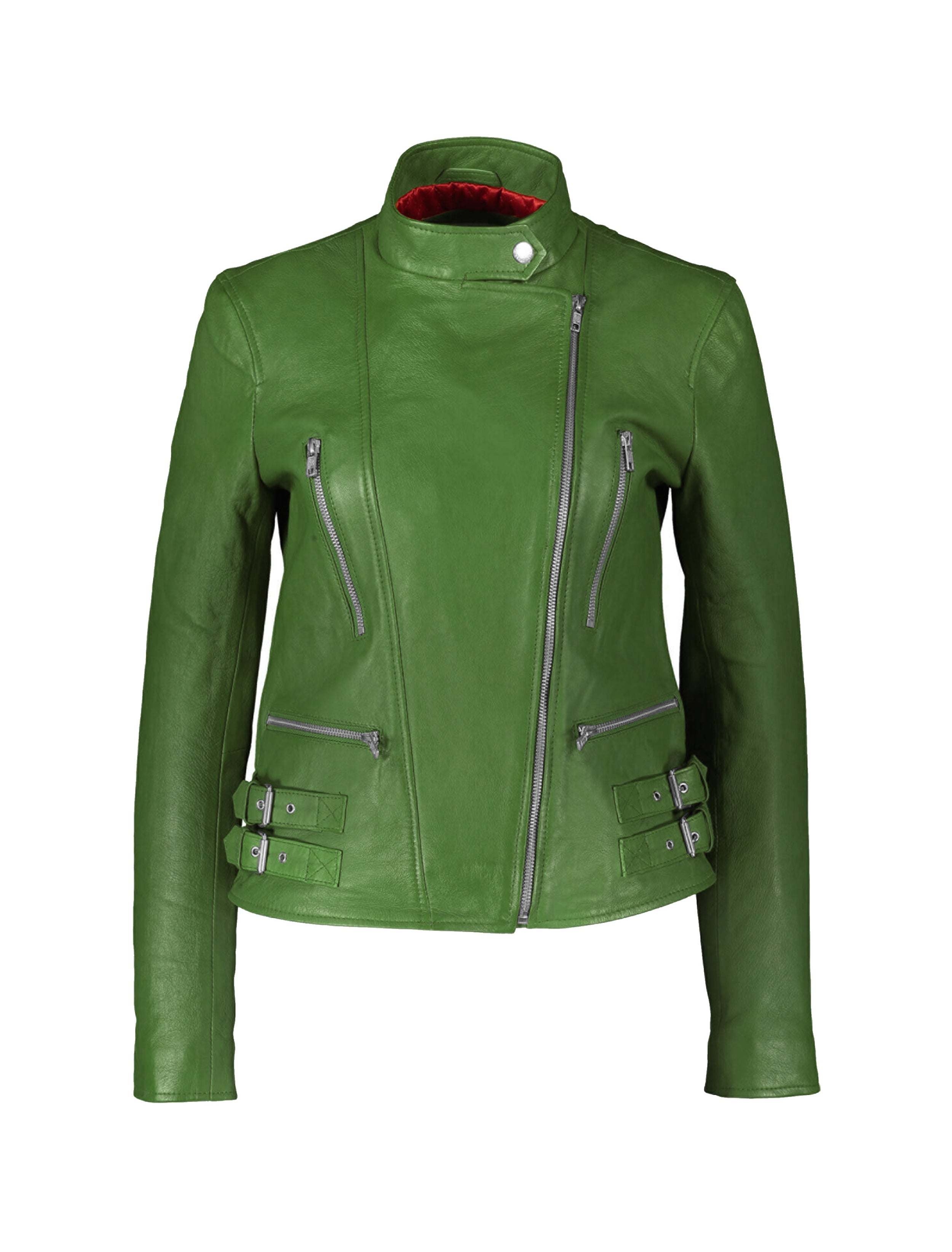 leather jacket green