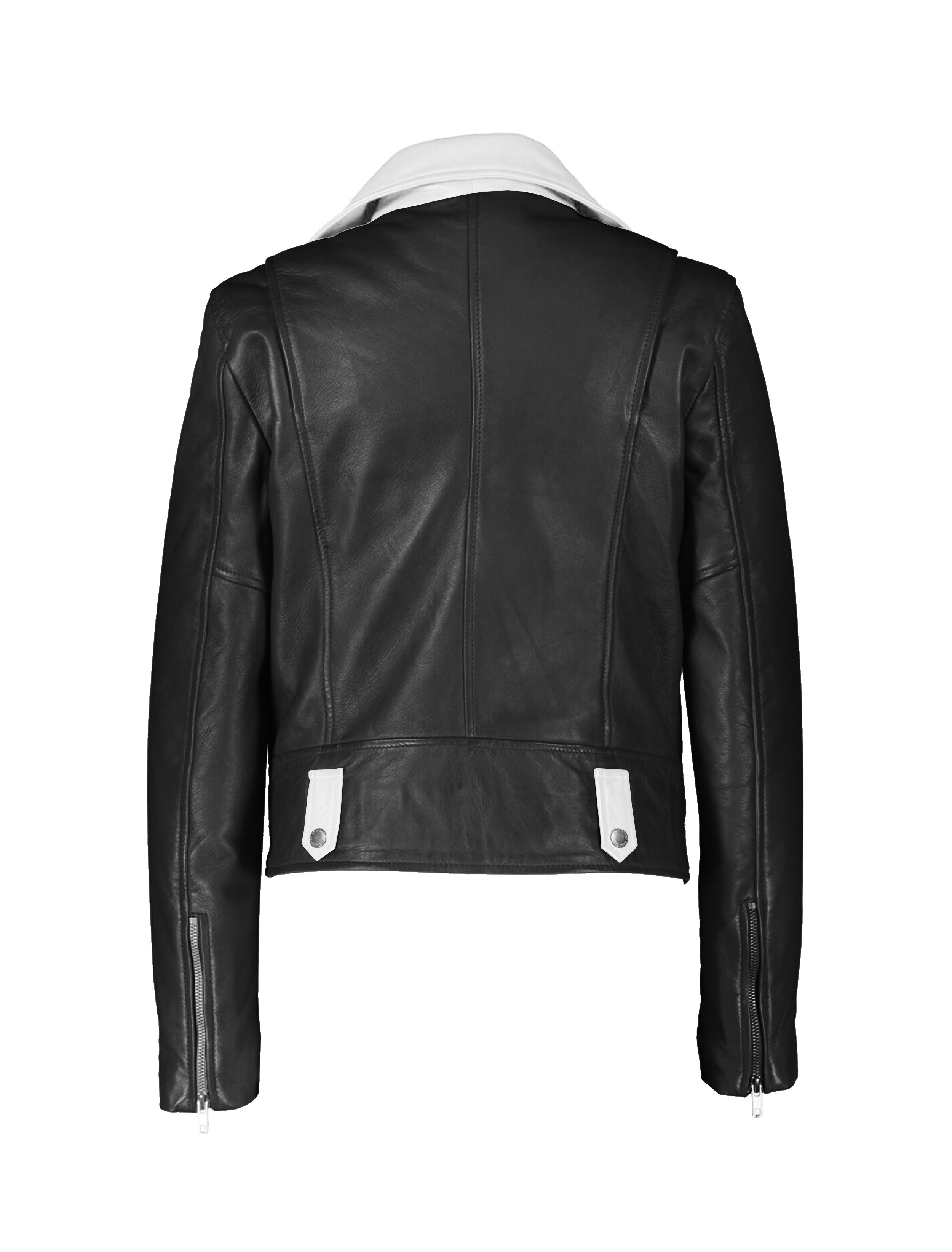 BLACK AND WHITE LEATHER DUO TONE MOTORCYCLE JACKET