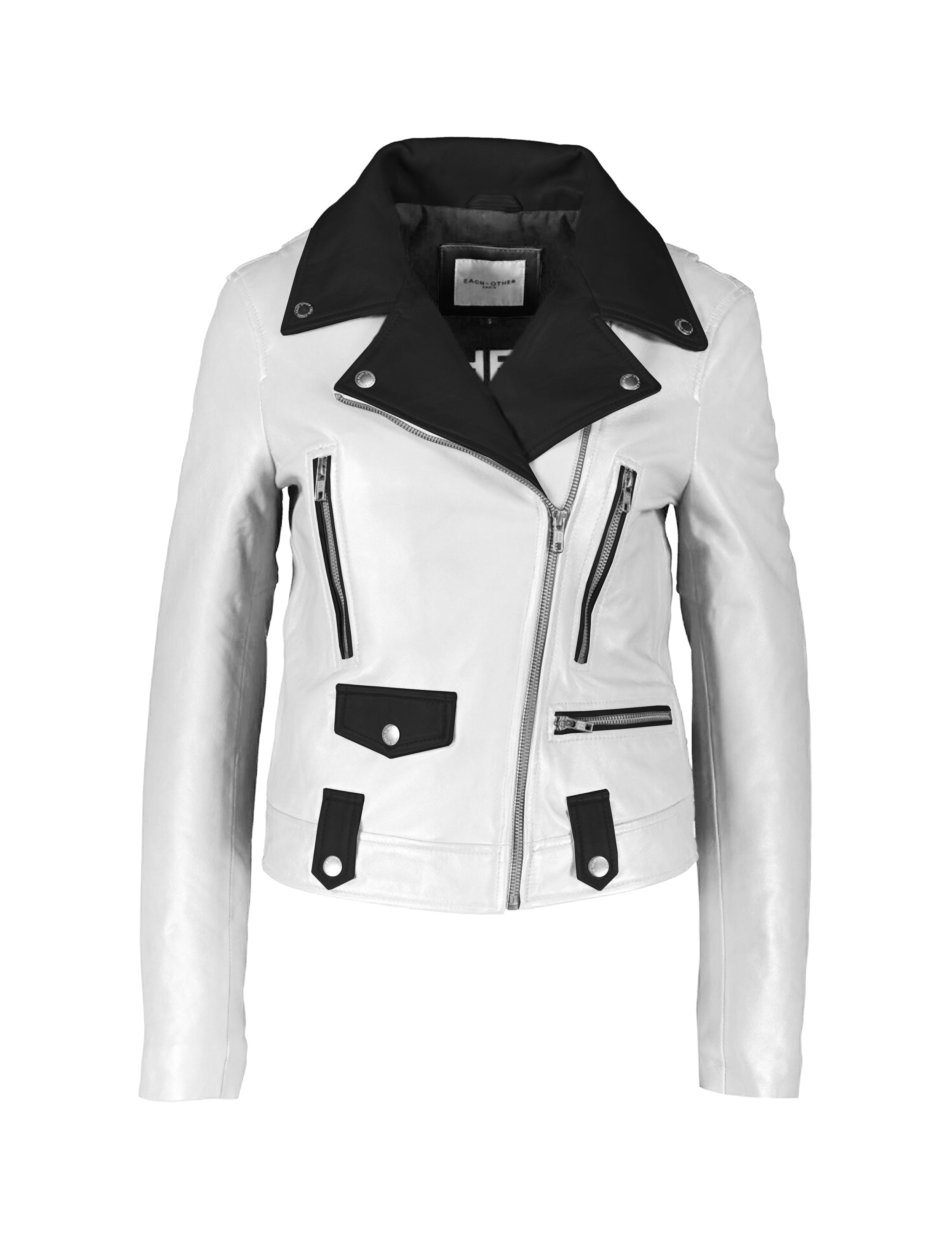 WHITE AND BLACK LEATHER DUO TONE MOTORCYCLE JACKET