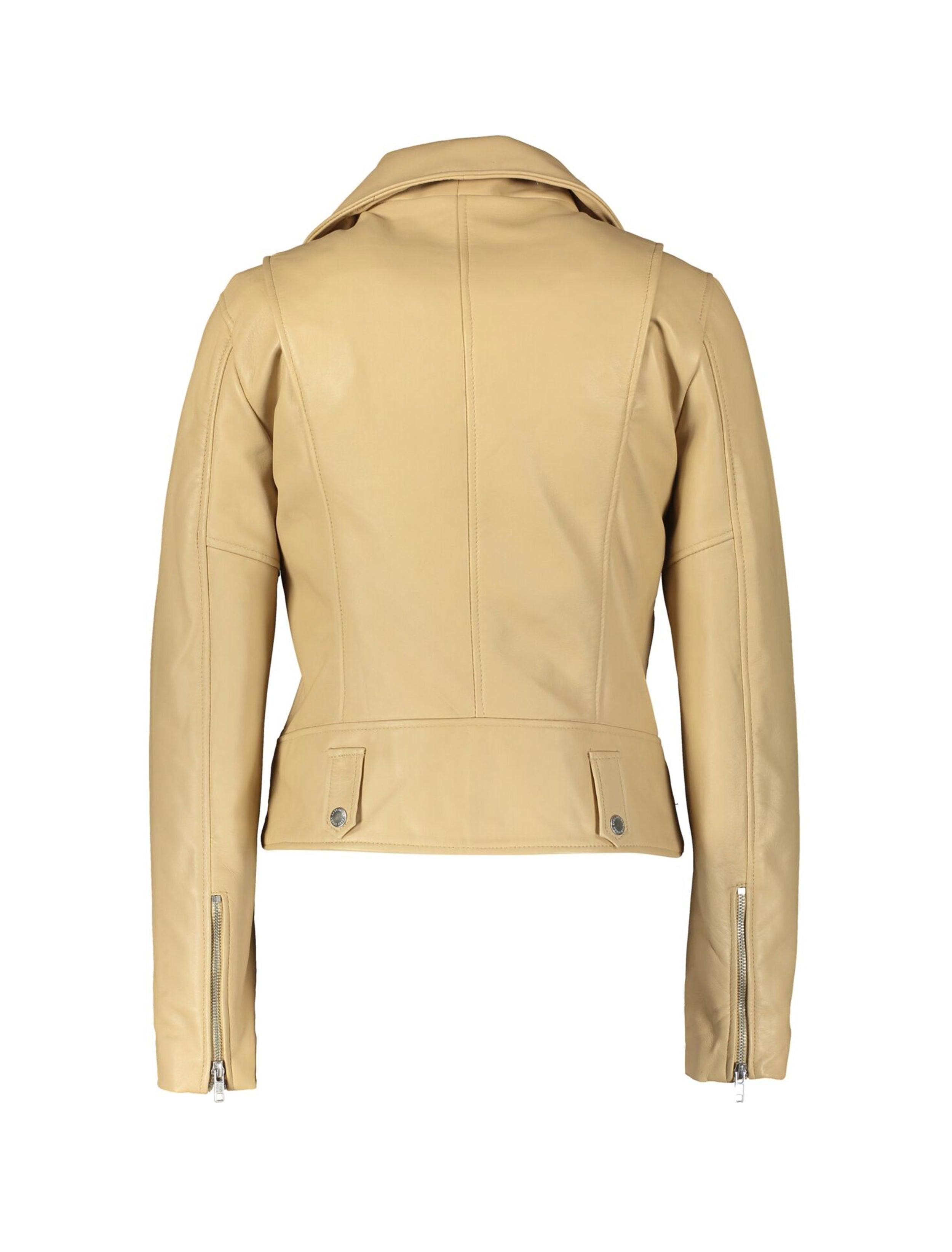 BEIGE LEATHER MOTOCYCLE JACKET