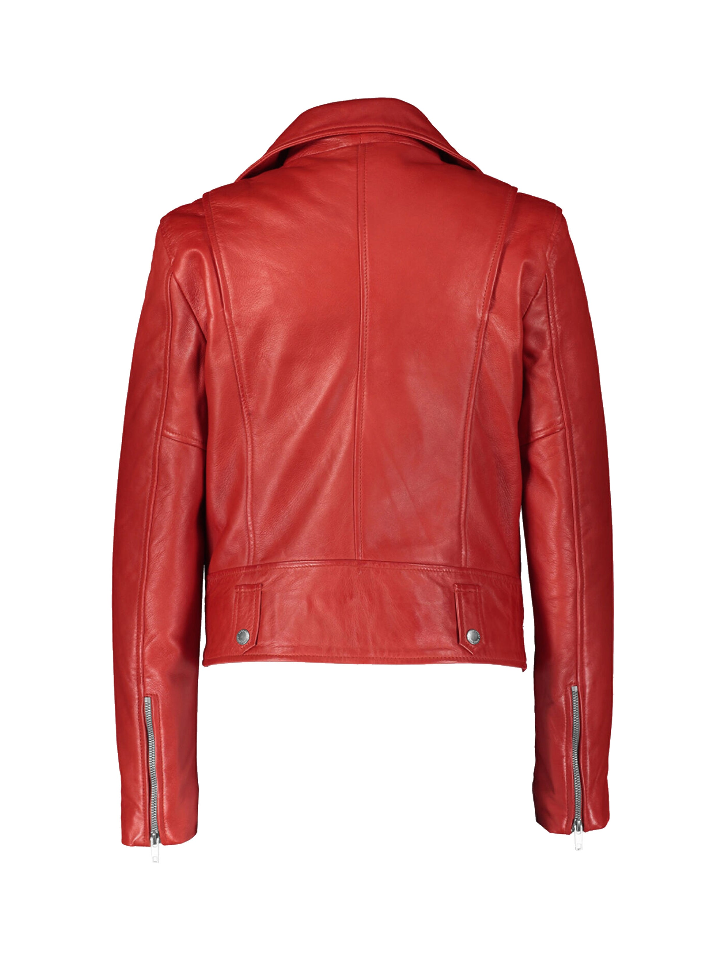 RED LEATHER MOTOCYCLE JACKET