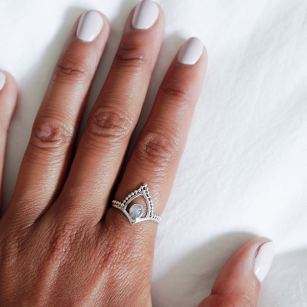 Moonstone Tiara Sterling Silver Ring