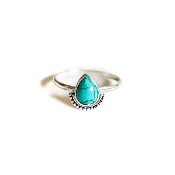 Turquoise Drop Sterling Silver Ring