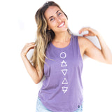Elemental Symbols Purple Muscle tank