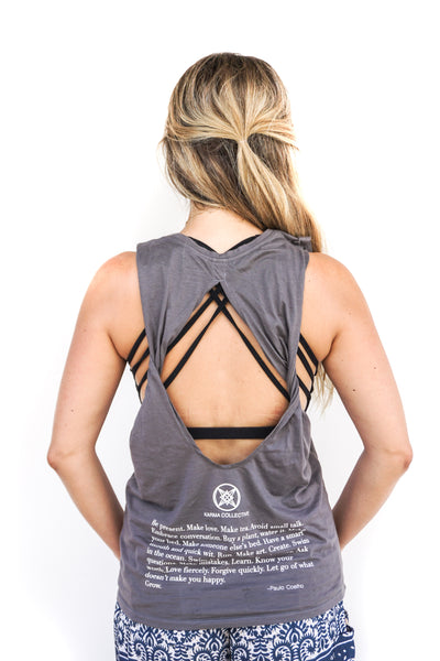Moon Child Open Back Twist Tank Grey