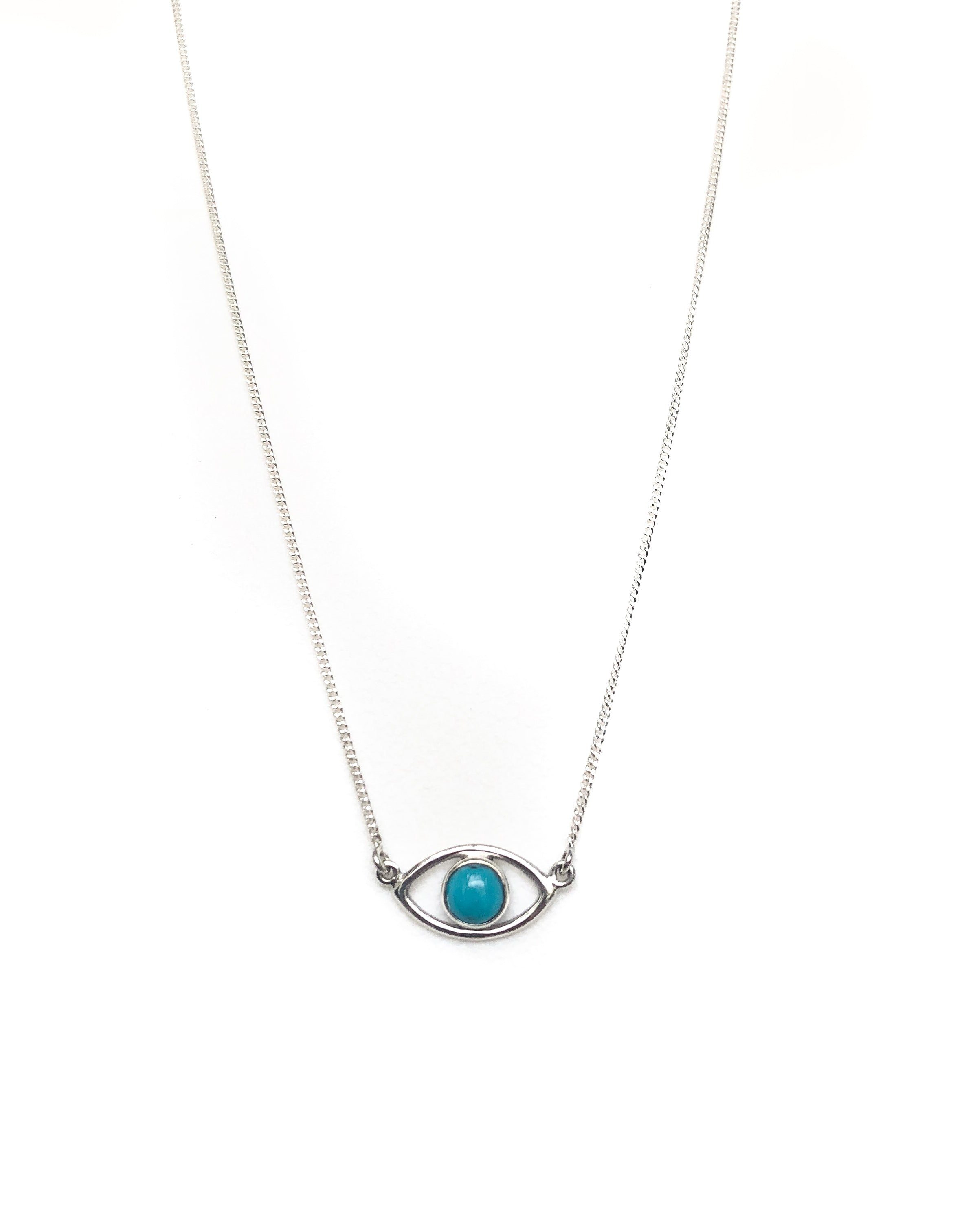 Turquoise Evil Eye Sterling Silver necklace