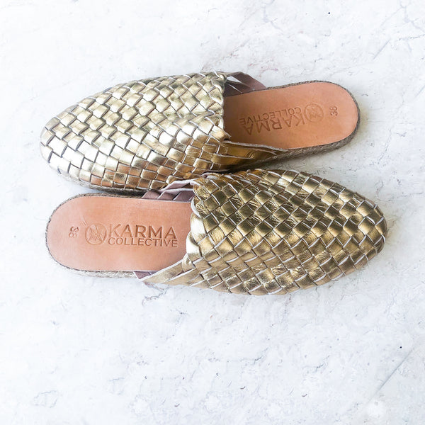 Leather Woven Mules Gold