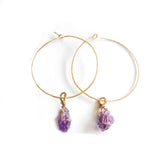 Amethyst 14k gold filled Hoops