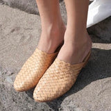 Camel Leather Woven Mules