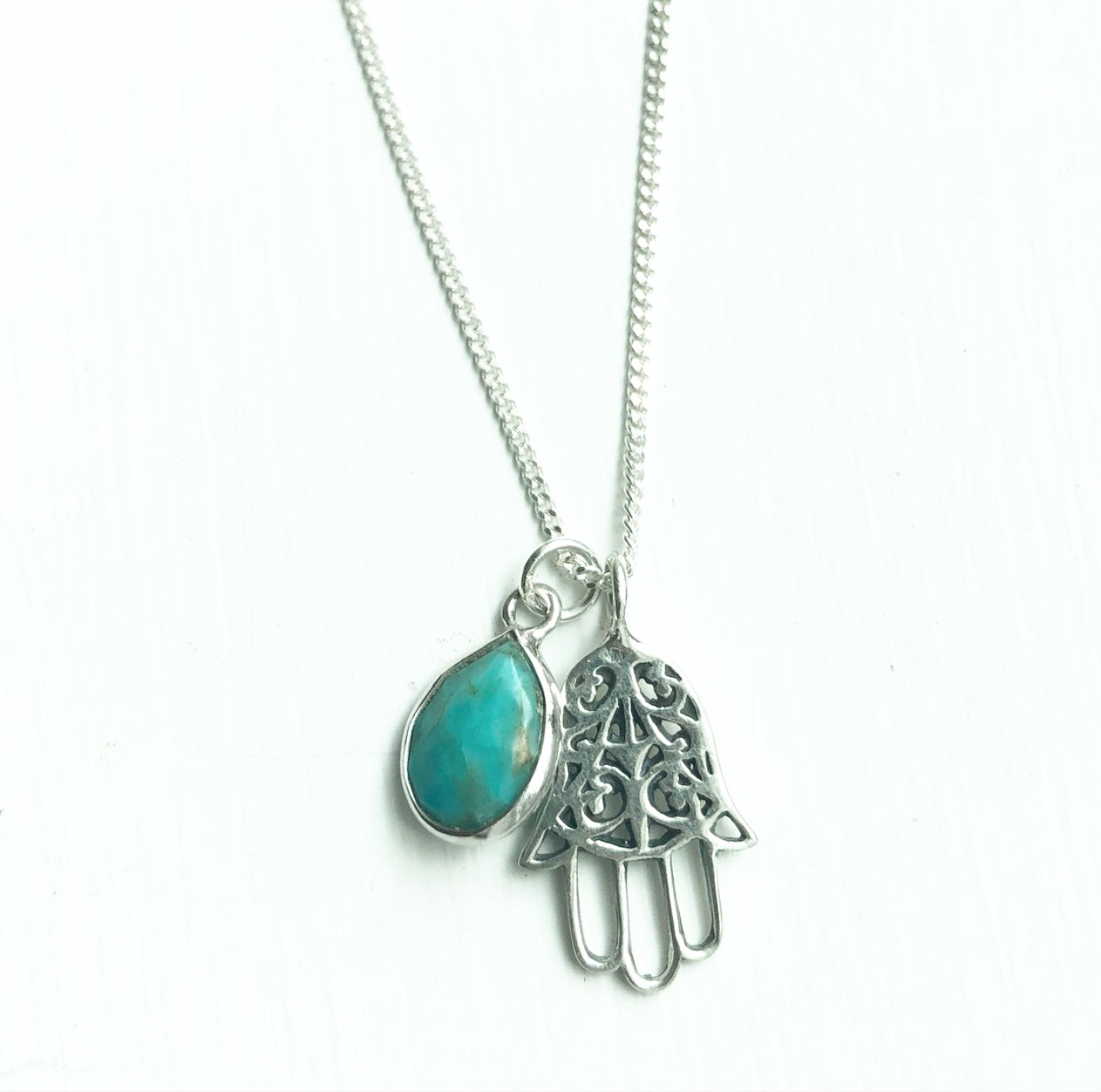 Karma Collective Sterling Silver Hamsa and Turquoise necklace