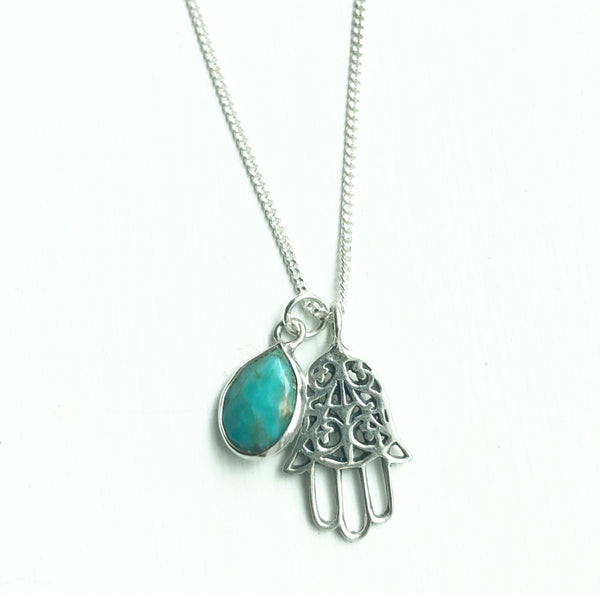 Sterling Silver Hamsa and Turquoise necklace