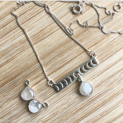 Karma Collective Sterling Silver Moon Phase + Moonstone necklace