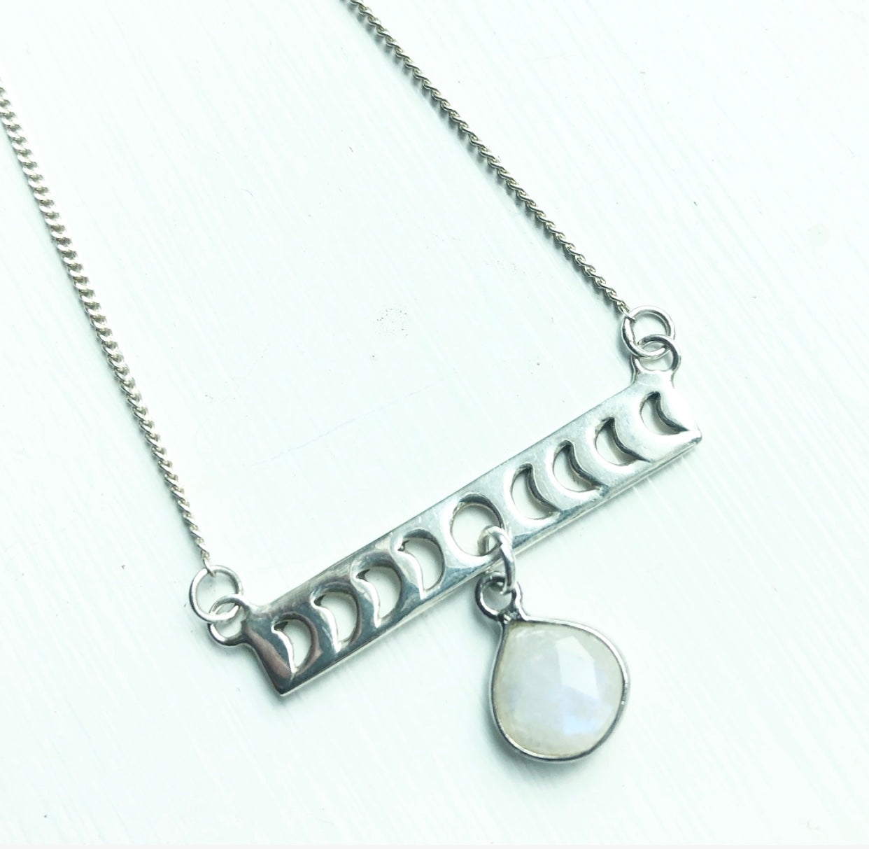 Sterling Silver Moon Phase + Moonstone necklace