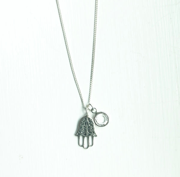 Sterling Silver Hamsa and Crystal necklace