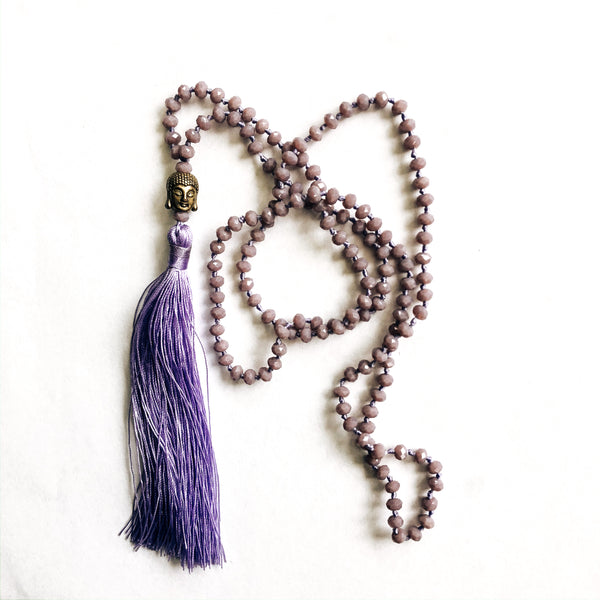 Lavender Buddha Crystal necklace