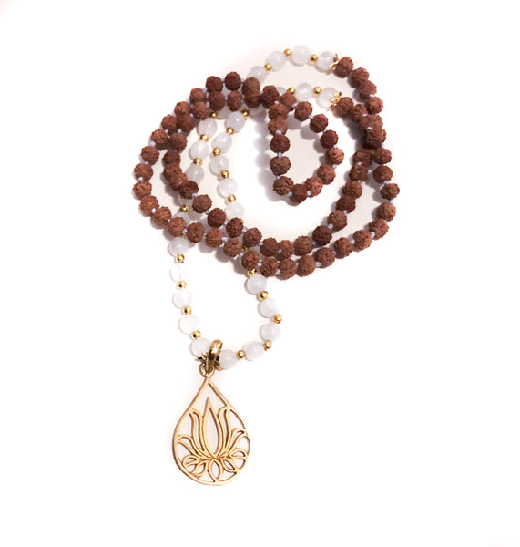 Moonstone + 22k GOLD Lotus Mala