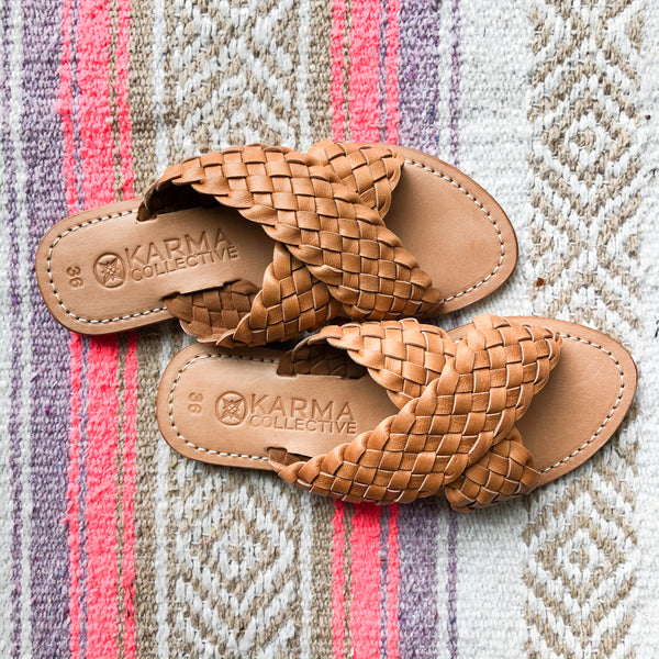 Leather woven Criss-cross Slides- Tan