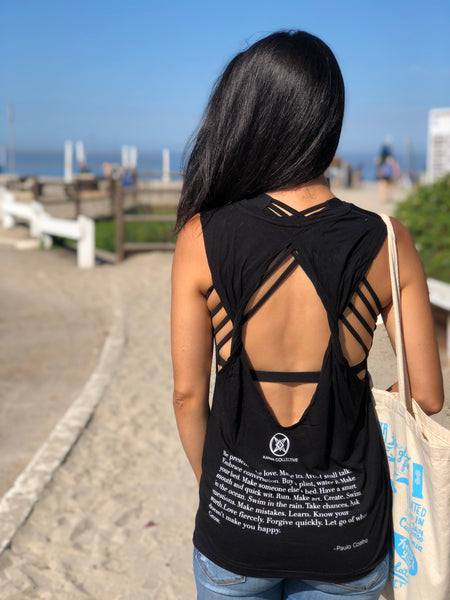 Happy Twist back Tank Top- Black