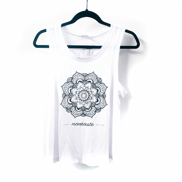 Mandala Flower White Muscle tank