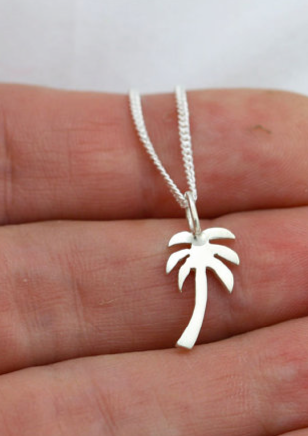 Palm Tree Silver Charm necklace