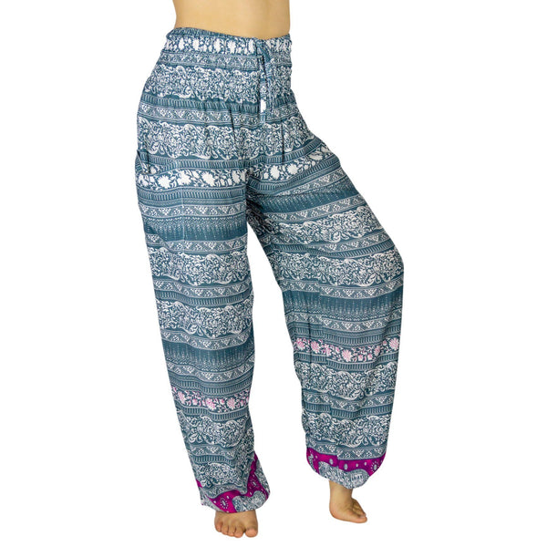 PI  -  Boutique Elephant (Black/Gray/Pink/White) - Scrunched Bottom  -   -  Women's Scrunched Bottom Pants size 0-12  -  pi-yoga-pants