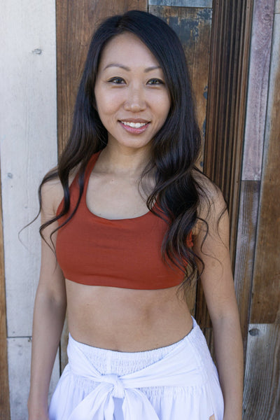 Dressy Sports Bra - Burnt Orange - Pi Yoga Pants