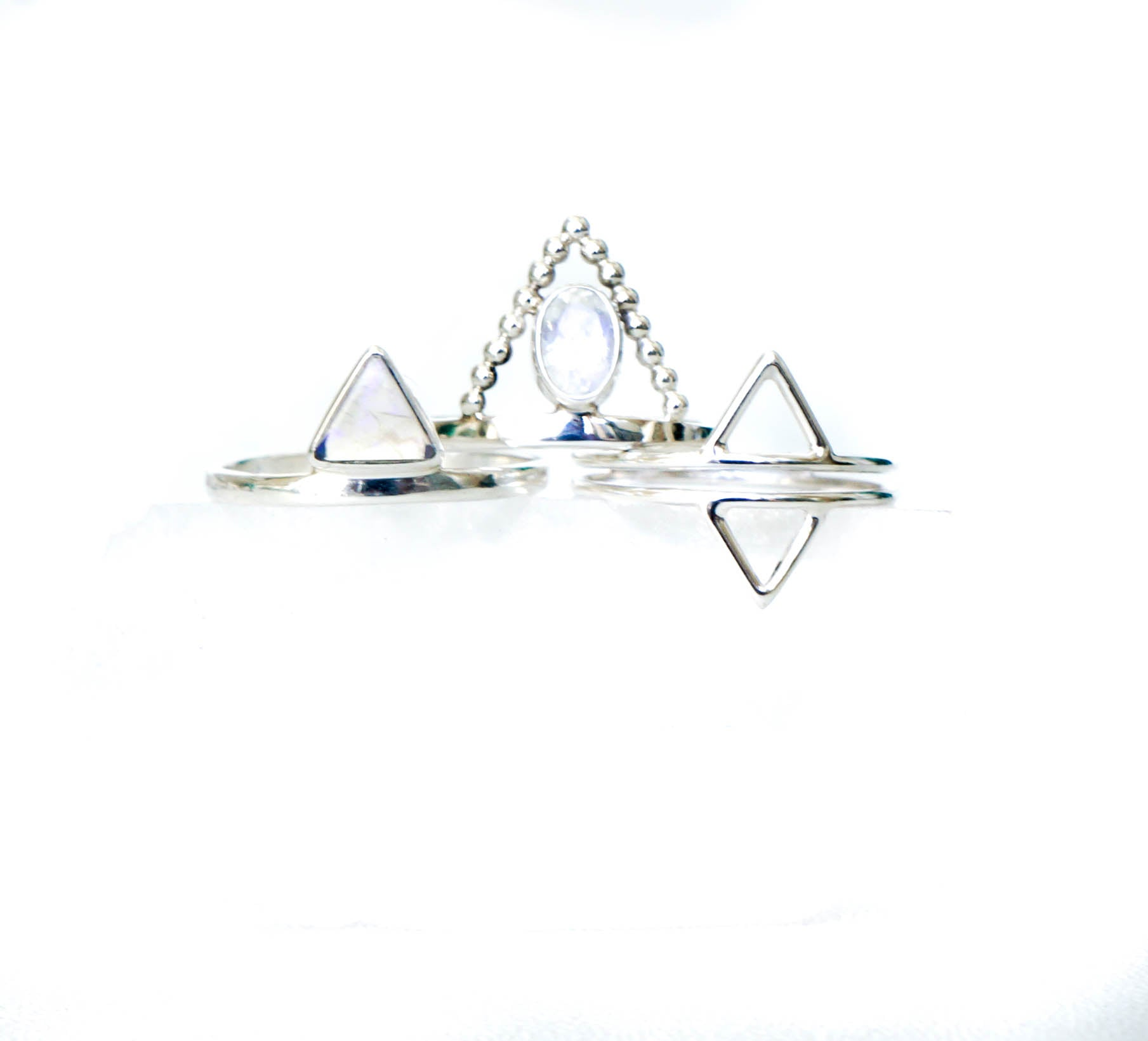 Moonstone Triangle Sterling Silver ring