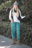 PI  -  Frozen Sunshine (Green/Black) - Scrunched Bottom  -   -  Women's Scrunched Bottom Pants size 0-12  -  pi-yoga-pants