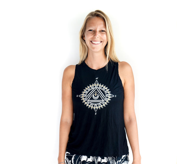 Sun Compass Black tie up tank