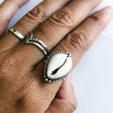 Cowrie Shell Sterling Silver Boho Ring