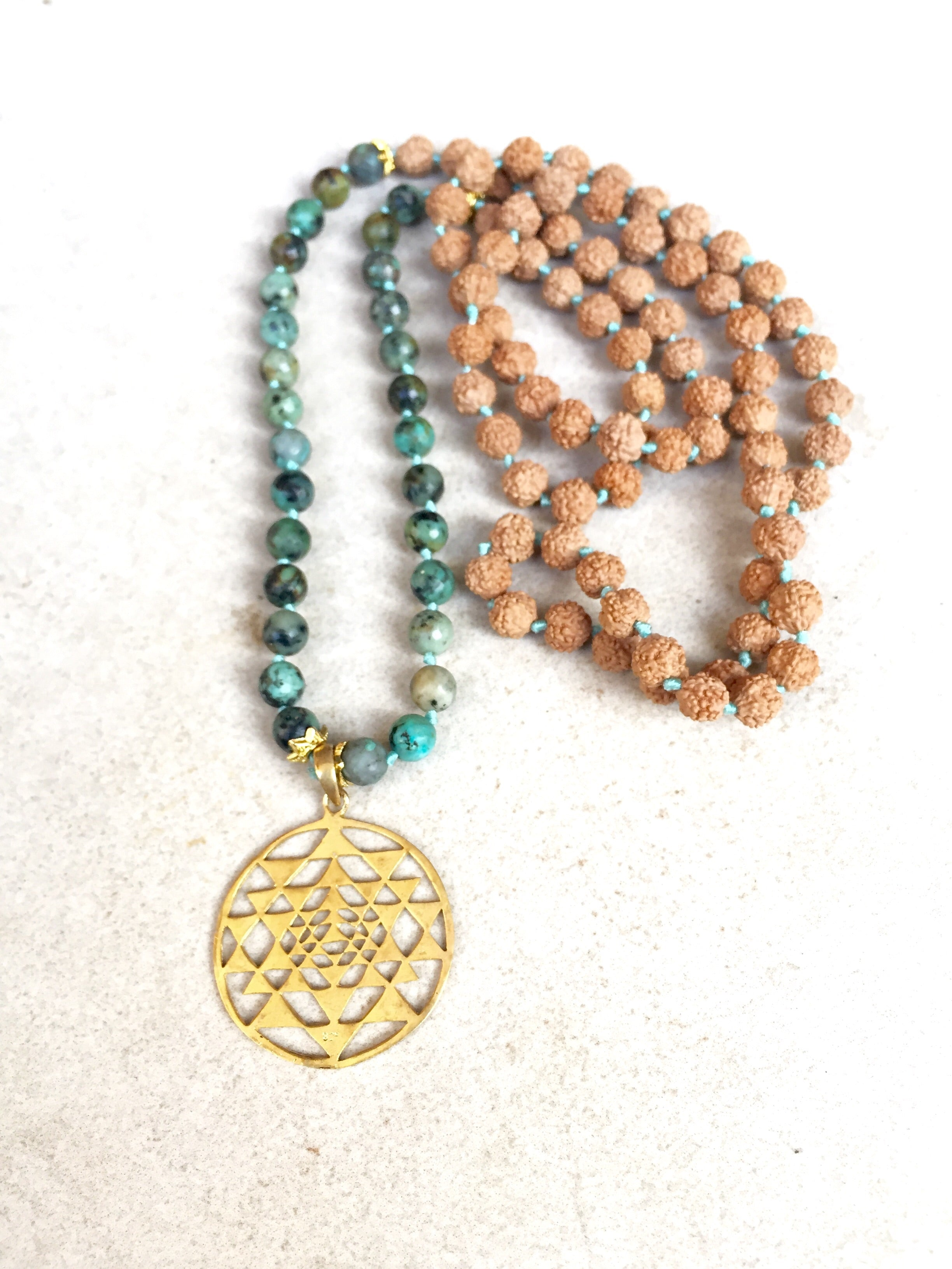 Mala: Gold plated Sri yantra + African turquoise