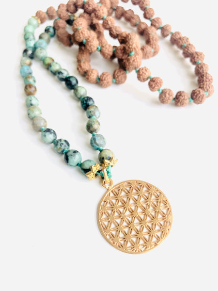 African Turquoise + Flower of Life Mala