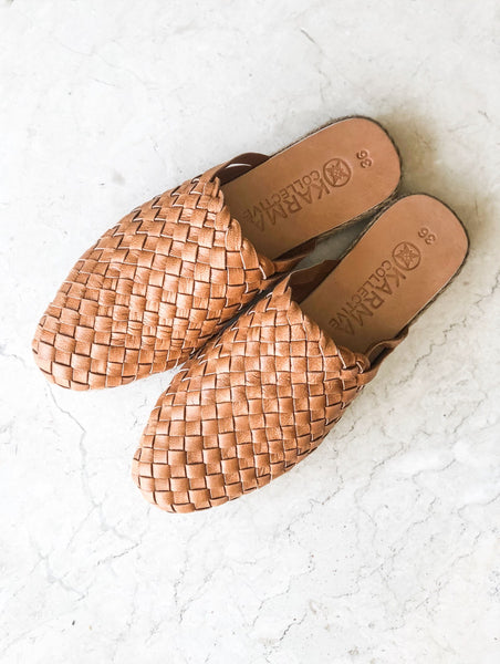 Leather woven Mules- Tan