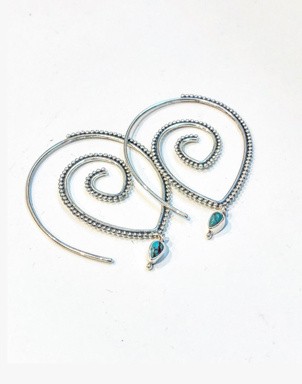 Tear drop turquoise sterling silver earring