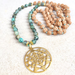 Karma Collective Mala: Gold plated Sri yantra + African turquoise