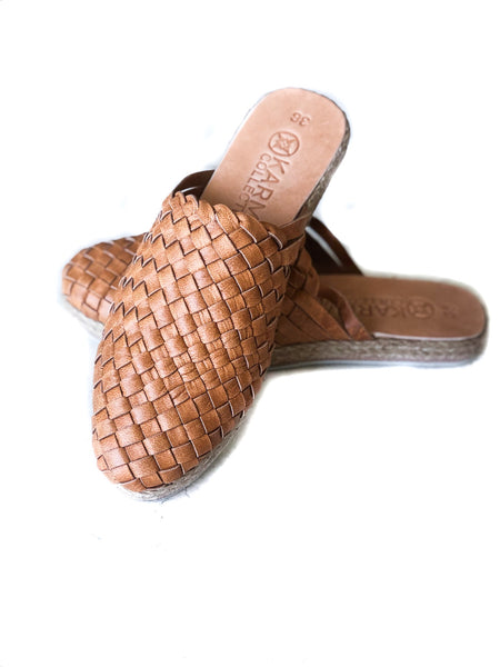 Leather woven Mules