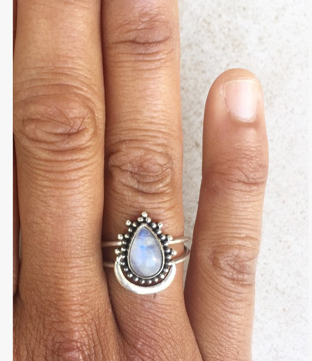Moonstone Moon drop Sterling Silver Ring