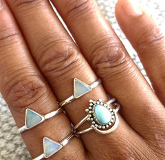 Karma Collective Moonstone Triangle Sterling Silver ring