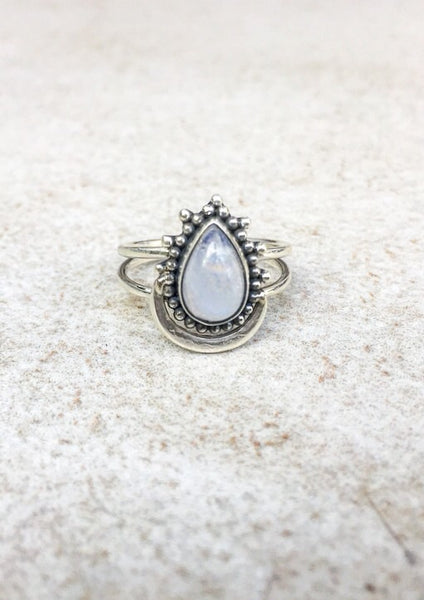Moonstone Moon drop Sterling Ring