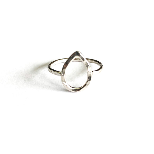 Hammered Teardrop Ring